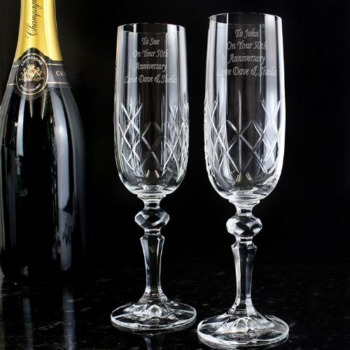Personalised Crystal Pair of Champagne Flutes